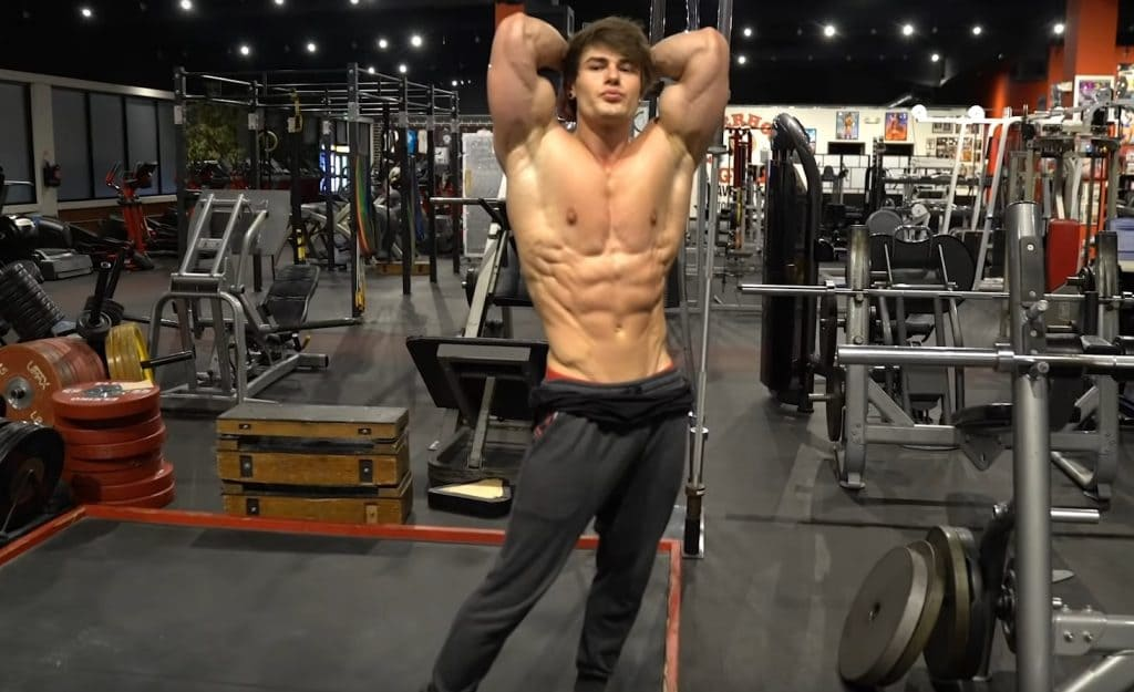 Jeff Seid Flexing ABS At The Gym