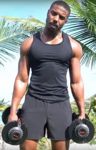 Michael B. Jordan Working Out With Dumbbells