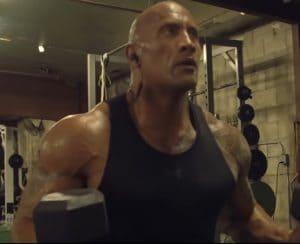 Bodybuilder The Rock In The Gym