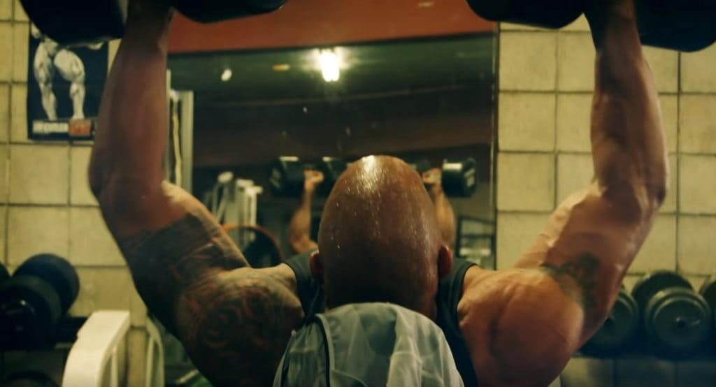 Dwayne Johnson The Rock Working Out, Building Shoulders